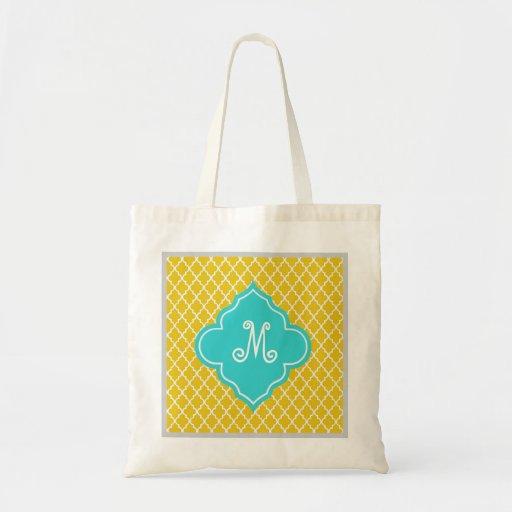Elegant, classic bright yellow quatrefoil monogram canvas bag
