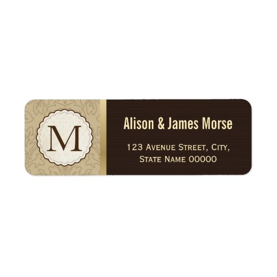 Elegant Classic Brown Gold Monogrammed Wedding Return Address Label