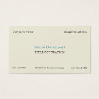 Elegant Classic Minimalistic Eggshell Blue Business Card