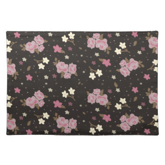 Elegant classic Pink & Dark brown Floral Design Placemat
