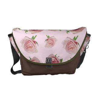 Elegant classic pink roses flower pattern courier bags