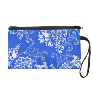 elegant, classic, stylish blue and hwite floral wristlets