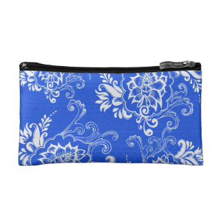 elegant, classic, stylish blue and hwite floral cosmetics bags