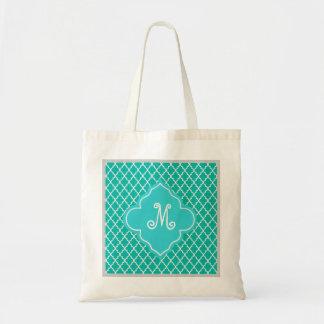Elegant, classic, teal quatrefoil monogram canvas bags