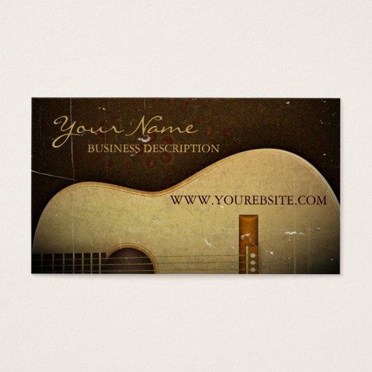 Elegant Classical Guitar Vintage Grunge Business Card