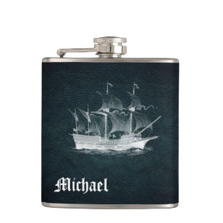 Elegant classy ancient ship  leather personalized flasks