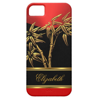Elegant Classy Asian Bamboo Red Gold Black Barely There iPhone 5 Case