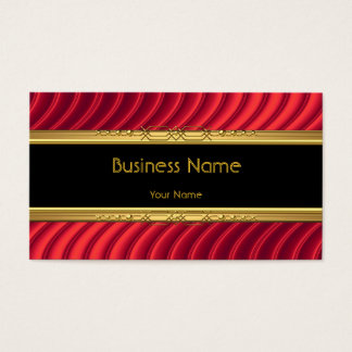 Elegant Classy Black Yellow Gold Deep Red Business Card
