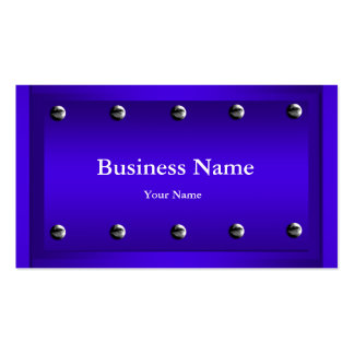 Elegant Classy Blue Silver Metal Chrome look Business Cards