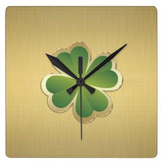 Elegant classy chic  golden lucky shamrock square wall clock