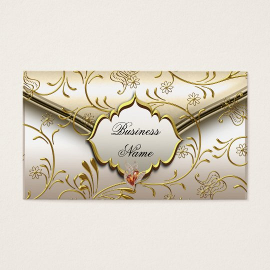 Elegant Classy Damask Caramel Cream Beige Gold Business
