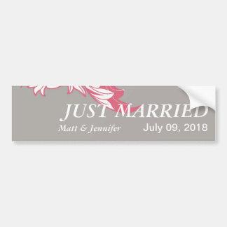 Elegant Classy & Dark Florals - Gray, Pastel Red Bumper Sticker