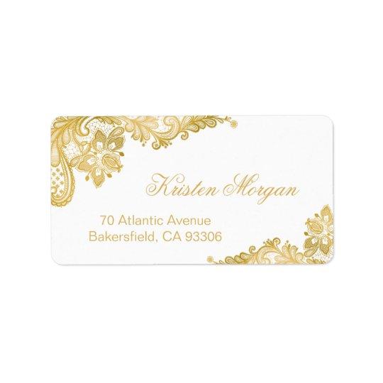 Elegant Classy Floral Gold Lace Address Label