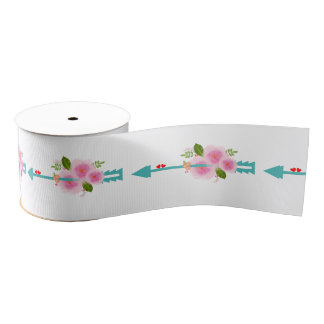 Elegant Classy Floral Pastel Floral Arrows Wedding Grosgrain Ribbon