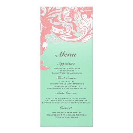Elegant Classy Florals - Blue-Green, Aqua, Mint Custom Invitation