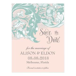 Elegant Classy Florals - Blush Pink, Mint Postcards