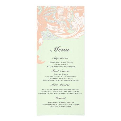Elegant Classy Florals - Green, Apricot, Pistachio Invitation