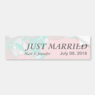 Elegant Classy Florals - Light Mint, Pastel Pink Bumper Sticker