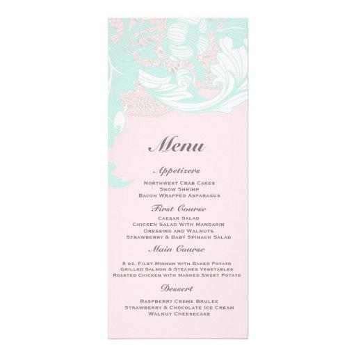 Elegant Classy Florals - Light Mint, Pastel Pink Announcement
