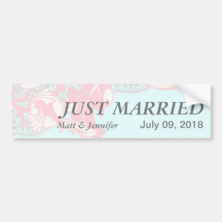 Elegant Classy Florals - Pastel Pink, Powder Blue Bumper Sticker