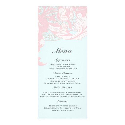 Elegant Classy Florals - Pastel Pink, Powder Blue Invite