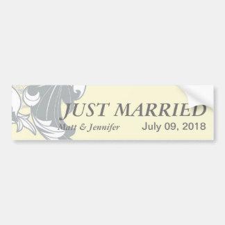 Elegant Classy Florals - Sand, Yellow, Gray Bumper Sticker