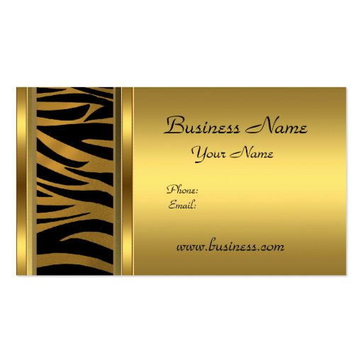 Elegant Classy Gold Black  animal print Business Card