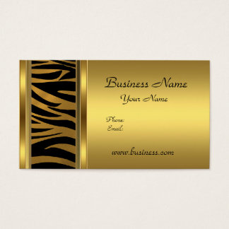 Elegant Classy Gold Black  animal print Business Card