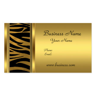 Elegant Classy Gold Black  animal print Pack Of Standard Business Cards