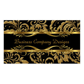 Elegant Classy Gold Black Damask Embossed Look Double-Sided Standard Business Cards (Pack Of 100)