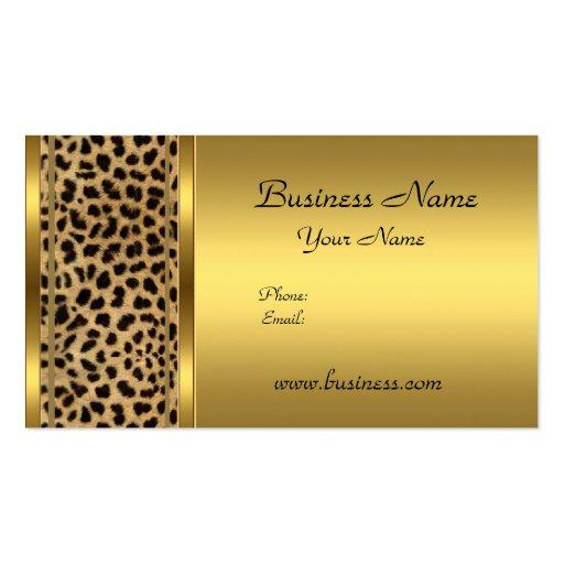Elegant Classy Gold Black Leopard animal print Business Cards