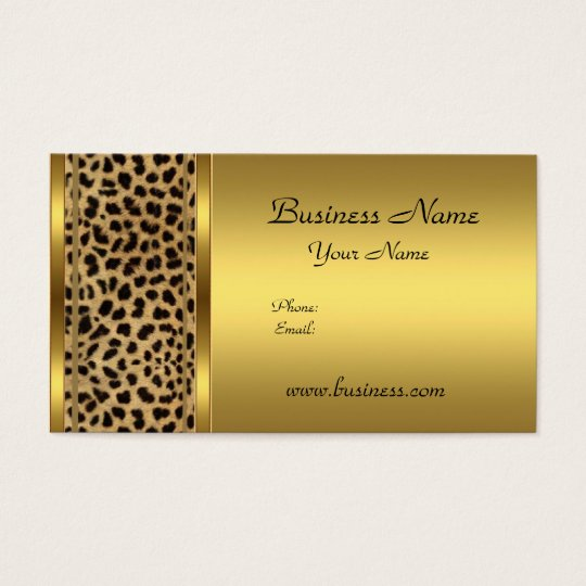 Elegant Classy Gold Black Leopard animal print Business