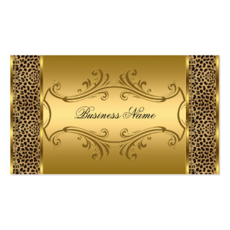 Elegant Classy Gold Black Leopard animal print Pack Of Standard Business Cards