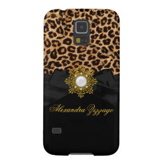 Elegant Classy Gold Black Leopard With Bow Jewel 2 Galaxy S5 Cover