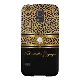 Elegant Classy Gold Black Leopard With Jewel 2 Galaxy S5 Cases
