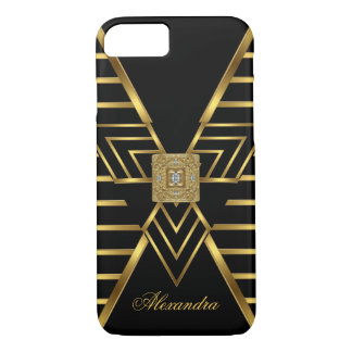 Elegant Classy Gold Black Stripe Art Deco iPhone 7 Case