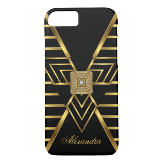 Elegant Classy Gold Black Stripe Art Deco iPhone