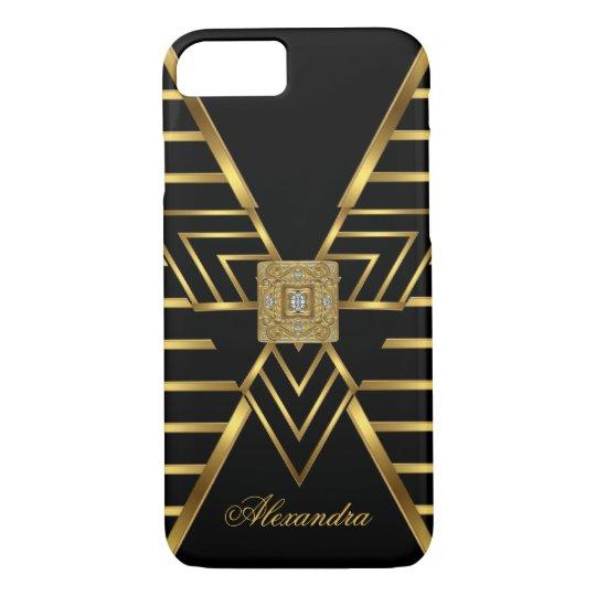 Elegant Classy Gold Black Stripe Art Deco iPhone