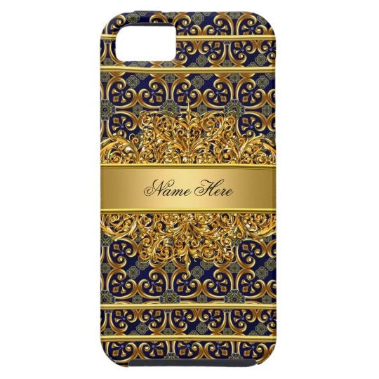 Elegant Classy Gold Blue iPhone 5 Cases