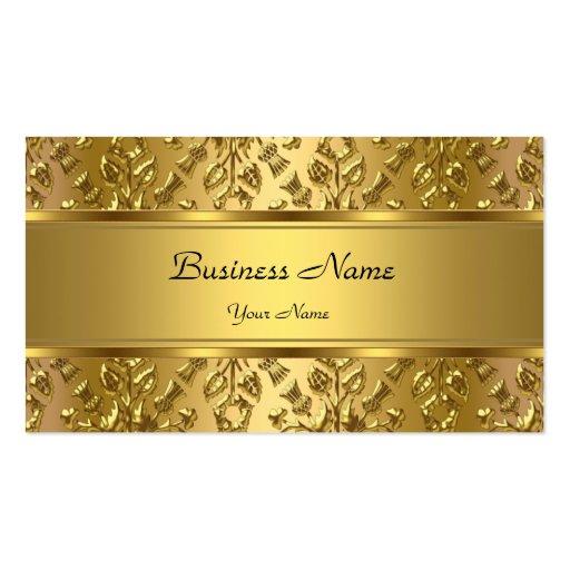 Elegant Classy Gold Damask Embossed Look Business Cards