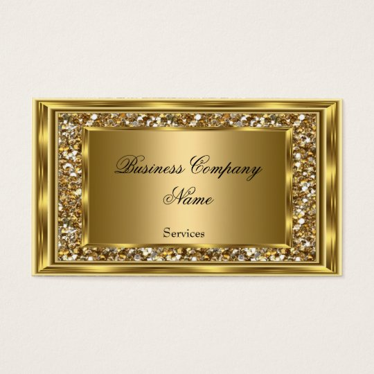 Elegant Classy Gold Frame Faux Glitter Business Card