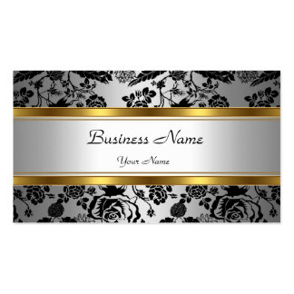 Elegant Classy Gold Grey Floral black silver Double-Sided Standard Business Cards (Pack Of 100)