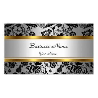 Elegant Classy Gold Grey Floral black silver Pack Of Standard Business Cards