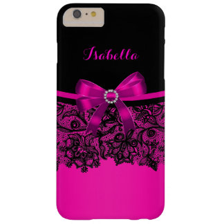Elegant Classy Hot Pink Bow Black Lace Barely There iPhone 6 Plus Case