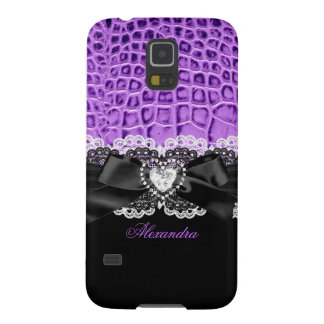 Elegant Classy Purple Black Animal Bow Heart Lace Case For Galaxy S5