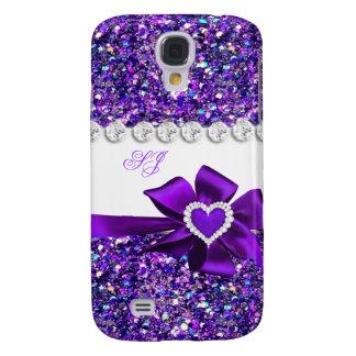 Elegant Classy Purple Glitter Look Monogram Bow Galaxy S4 Case