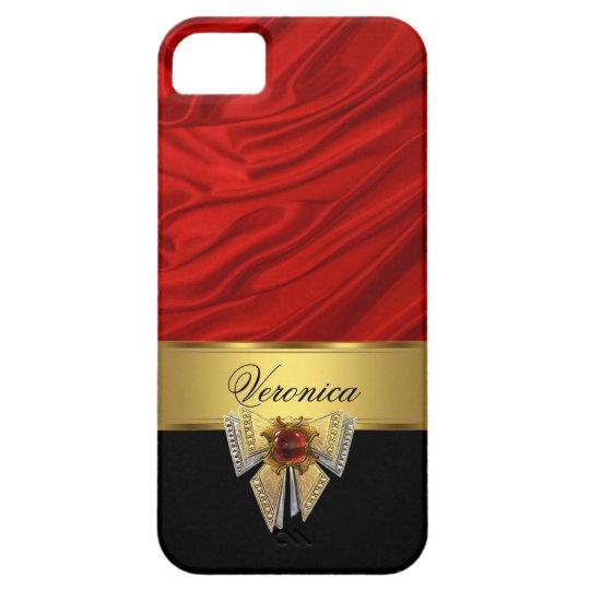 Elegant Classy Red Gold Black Silk Look iPhone 5 Covers