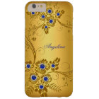 Elegant Classy Royal Blue Gold Yellow Floral Look Barely There iPhone 6 Plus Case