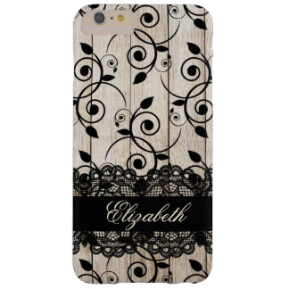 Elegant Classy Rustic Wood Black Lace Floral Barely There iPhone 6 Plus Case