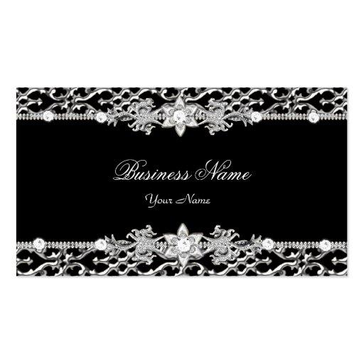 Elegant Classy Silver Black Diamond 2 Business Cards